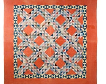 "Antique Quilt. Beautifully executed Patchwork ""Ocean Waves"" Pattern. Hand Quilted. Late 1800s or early 1900. Soft Reds & Blues."
