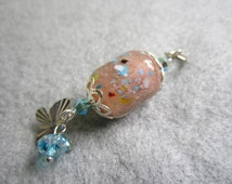 Cupid's Rain, Lampwork Glow-In-The-Dark Glass Bead Pendant