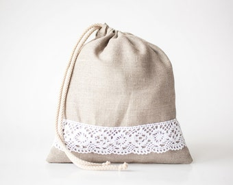 Linen drawstring bag set of 5 - Linen bread bags - organic food bag - linen lace bag - Linen gift bags - travel laundry bag - linen bags