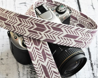 dSLR Camera Strap - Dusty Lilac - Sunprint Feathers - Gift for Photographers - White and Purple Camera Strap