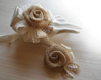 Country Burlap Rose & Lace Wrist Corsage and/or Boutonniere. Made to Order.