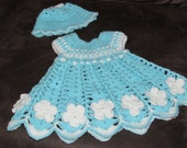 Anna Belle Baby Dress and Hat  Newborn to 3 Months CROCHET PATTERN INSTANT Download