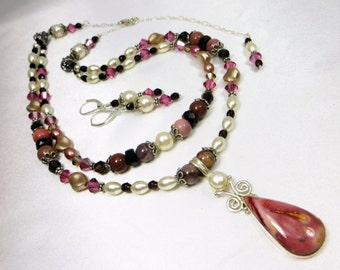 Necklace and Earring Set in Dusty Pink Rose Mookalite Stone, Freshwater Pearls and Swarovski all Sterling Silver