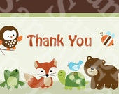 Forest Animal Friends Baby ShowerThank You Card in 2 Sizes!! Printable Digital Download