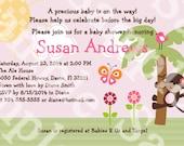 "Personalized/Customized ""Sunny Safari Monkey"" Printable Baby Shower Invitation 5x7 U Print yourself"
