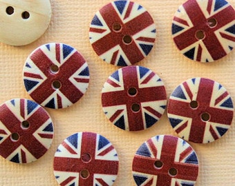 10 UK Wood Buttons 18mm BUT356