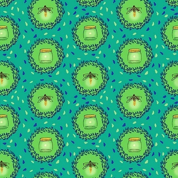 Michael miller wee wander glow friends in seafoam fabric by for Children of the sea fabric