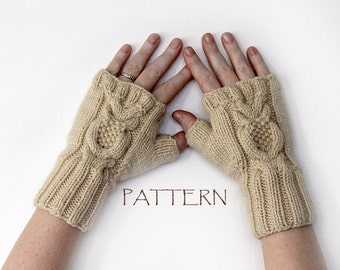 Pattern Knitted Owl Fingerless Mittens PDF