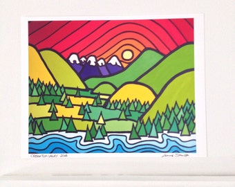 Landscape Art Print-Colorful Mountains-Sky-Creighton Valley-British Columbia-Interior Decor-Home Decor-Office-Perfect Gift