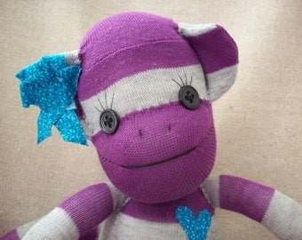 Sock monkey plush toy in purple and grey stripes, Stuffed animal monkey, monkey toy, children's toy monkey, sock monkey plush doll
