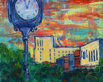 Downtown-Time for Bryan print of acrylic painting