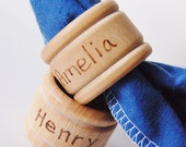 Personalized Wooden - LITTLE HELPER Napkin Ring Set of 4 - A Montessori Life Skill