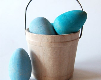 Natural Wooden Waldorf Toy- ROBINS EGGS- Mini Wood Toy Easter Eggs and Basket- Easter Decoration- Easter Gift