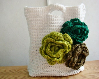 Crochet PATTERN Storage Bag, Crochet Tote Pattern, Diaper Bag Pattern, Flower Purse Crochet Pattern, 239