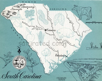 South Carolina Map - ORIGINAL Vintage 1960s Picture Map - Fun Retro Colors - Charleston Columbia Greenville Spartanburg Hilton Head Souveni