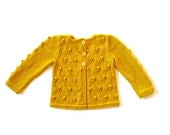Girls Sweater yellow mustard Knitted cardigan, wool jacket, popcorn knit bobbles, lace, toddler baby 0-3-6-9-12-18-24 months 2T 3T 4T 5T 6