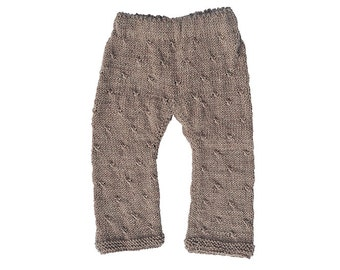 Children's baby / toddler girl / boy hand knitted beige / brown hipster pants / trousers, wool, fall, winter, 6-9-12-18-24 months, 2T 3T 4T