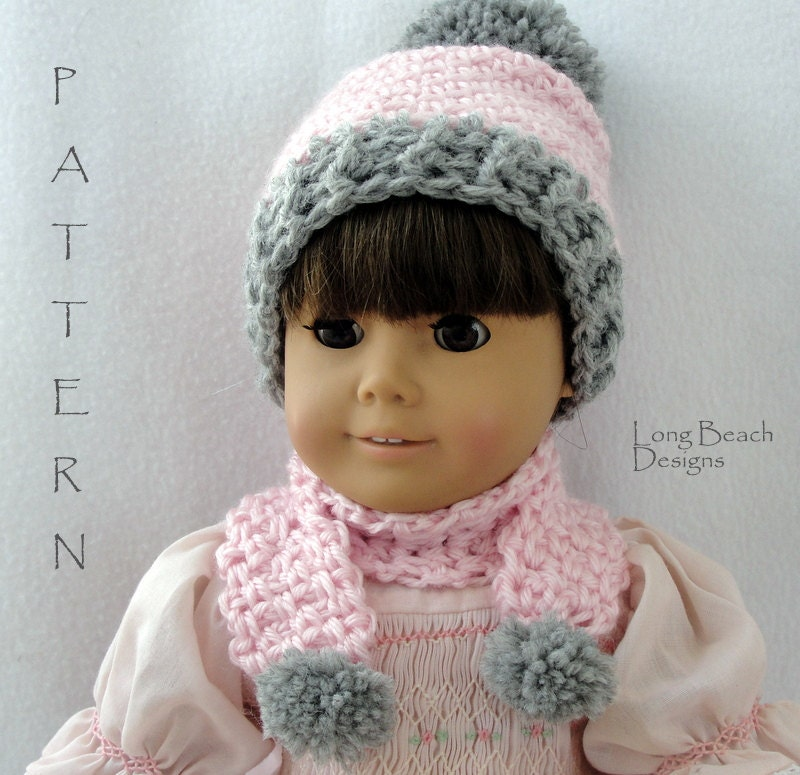 crochet pattern doll pom pom beanie and matching scarf hat