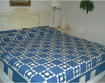 churn dash bed quilt, cotton material,