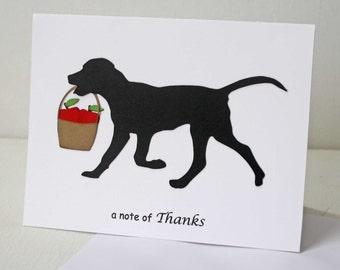 Dog Thank You Card - Dog silhouette, apples, teacher appreciation