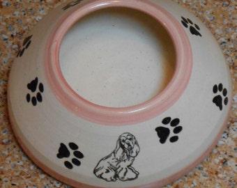 Cocker Spaniel, Pink & White -  Long Ear Bowl with Paws (Medium)