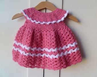 Beautiful Coral And White Baby Dress,Newborn Gift