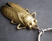 Cicada Keychain Brass Insect Keyring