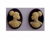 black cameo 1pr 18x13 Ethnic Cameo African American Cameo Matched Pair for crafting diy african earrings Resin Cameos Jewelry Finding 615x
