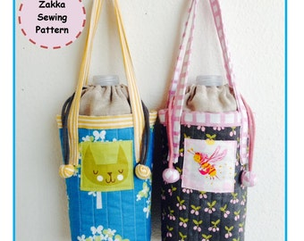 PDf Insulated Water Bottle Carrier - Zakka Sewing Pattern - Instant Download