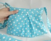 Turquoise Zippered purse with White Polka Dots / Adjustable Strap