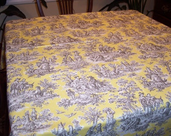 "Custom Tablecloth Rustic Life Toile 54"" Square Overlay"