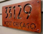 CUSTOM Euro Deluxe Address Sign in Rusted Steel