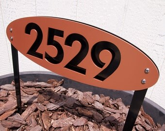 CUSTOM House Numbers Oval in Powder Coated Aluminum Ground-stakes