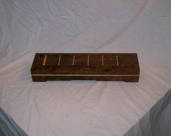 Walnut with Maple and Wenge Inlayed  Cribbage board with a set of Domino's