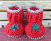 Crocheted Red and Gray Baby Boots - Snuggly Snuggs