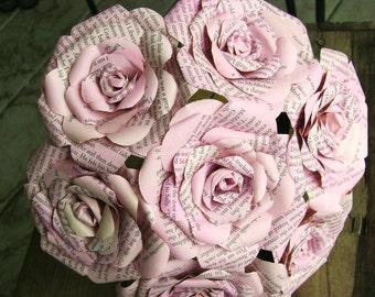 vintage book page paper rose bouquet pastel pink wedding bridesmaid bouquet