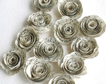 "12 med 1.5""  vintage recycled hymnal sheet music spiral rolled roses without stems bouquets for weddings and scrapbooks embellishments"