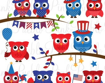 Fourth of July Owl Clipart Clip Art, Happy 4th of July Owls Clipart Clip Art Vectors - Commercial and Personal