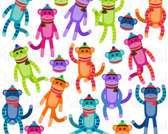 Sock Monkeys Clipart Clip Art Vectors, Great for Sock Monkey Birthday Baby Shower Invitations - Commercial and Personal Use