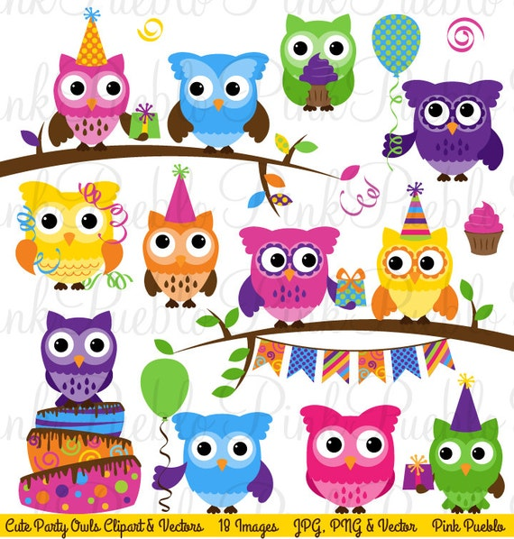 Cute Birthday Party Owl Clipart Clip Art Happy Decor Vectors