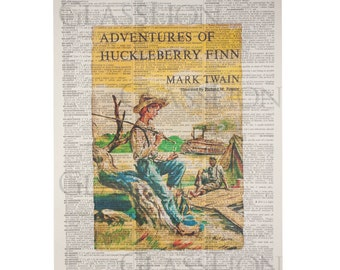 Huckleberry Finn Book Cover on a Vintage Dictionary Page