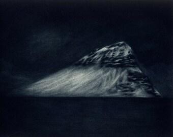 North Atlantic Mountain - Original Mezzotint