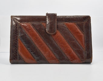 Vintage Purse 1970s Clutch Large Leather Handbag Red and Brown Snake Skin with Brown Leather Back Made in Argentina