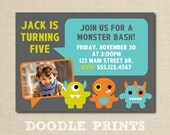 """Monster Invitation - Printable Monster Birthday Invitation - Customized Printable Boy's Party """"The Monsters are Here Design"""" 5x7"""" or 4x6"""""""