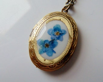 Vintage Brass Locket with Forget Me Nots, Brass Locket, Forget Me Not Necklace