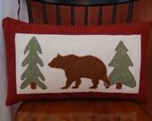 SALE, Grizzly Bear Pillow, Cabin Decor, Applique Pillow