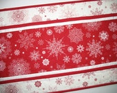 Snowflake Table Runner Quilted  Snowflakes in Red and White  focus fabric from Studio e