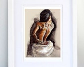 Print, Art Print, Wall Decor, Wall Art, Illustration Print,Brown Nude Drawing, No. 14 - print 8x11.5 inch (21x29.5 cm) -special offer