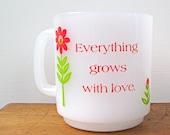 RESERVED Vintage Glasbake Milk Glass Love Grows Mug