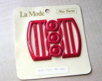 La Mode Wide Mod Vintage Red Belt Buckle No Sew Style